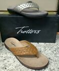 TROTTERS ~ KRISTINA ~ SLIP-ON  THONG SANDAL REG. $93  IN SILVER AND TAN