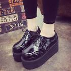 Womens Round Toe Shoes Lace Up Retro Style Suede Muffin Platform Punk New A174