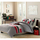 Teen Boys Twin XL 4-piece Comforter Set Bed-In-A-Bag College Dorm Bedding Black