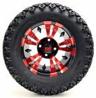"""12"""" Red/Black Vampire Wheels and X-Trail Tires + GTW Quality Golf Cart Lift Kit"""
