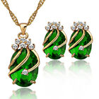 Fashion Zerconic Rhinestone Gold Plated Pendant Necklace Earrings Jewelry Sets