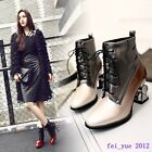Chic Women Lace up Pieced Pointy Toe Mid Chunky Heels Patent Leather Ankle Boots