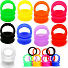 2pcs Silicone Gauges Flesh Tunnels Double Flare Stretching Expander Ear Plugs WK