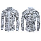 Fashion Mens Slim Fit Floral Shirt Casual Long Sleeve Dress Shirts Luxury Tops