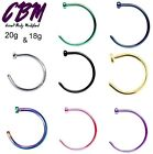 18g 20g Nose Hoops Tragus Cartilage Stainless Steel Piercing 1/4 5/16 3/8