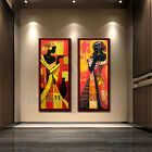 African Woman Oil Painting PRINT on Canvas Black Abstract Portrait Art Decor