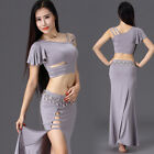 sexy 2016 women hot sell belly dance costumes set stage 2pcs top +long skirt
