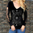 "Gothic Punk Women Print ""AS ABOVE SO BELOW"" Top Long Sleeve Shirt Pullover Fine"
