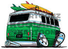 KOOLART CARTOON TEE SHIRT 1940 VW CAMPER VAN GREEN
