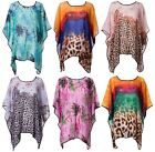 Womens Ladies Floral Chiffon Beach Loose Batwing Waterfall Poncho Kimono Top