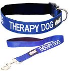 THERAPY DOG Snap Collar & Leash Set Blue Padded Adjustable S M L XL Super Strong