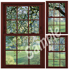 Faux - Fake Window Illusion - Cherrywood Frame - Cherry Blossom Trees 3 Views