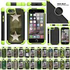 For Apple iPhone 7 Case Dual Layer Gel Bumper Kickstand Defender Green Cover