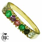BJC® 9ct Yellow Gold DEAREST Ring Diamond Emerald Amethyst Ruby Sapphire Topaz