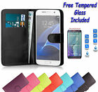 Wallet Flip Book Leather Cover Case For Samsung Galaxy S5 + Free Tempered Glass