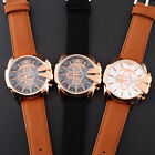 New Rose Gold Stainless Steel Case V6 Mens Leather Band Analog Sport Watch