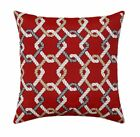 Nautical Accent Pillow, Cape Cod Harbor Outdoor Pillow in Red, Grey, Brown Cream