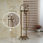 Antique Brass Floor Mounted  Tub Shower Faucet With Hand Shower Mixer Tap