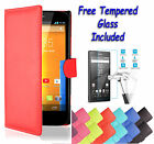 Wallet Flip PU Leather Book Case Cover For Sony Xperia M2 + Free Tempered Glass