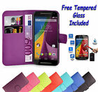 Wallet Flip Book Leather Case Cover For Motorola Moto G4 Plus + Tempered Glass