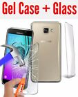 Ultra Thin Clear TPU Gel Skin Case Cover + TEMPERED GLASS for Samsung Phones