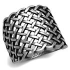 Men's Antique Silver Tone Stainless Steel Weave Design Fashion Ring Size 8