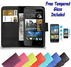 Wallet Flip Book Leather Cover Case Holder For HTC Desire 510 + Tempered Glass