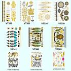 Gold Silver Black Disposable Metallic Flash Temporary Tattoos Stickers Body Art