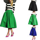 Women Casual Vintage High Waisted Skater Flared Pleated Long Maxi Skirt Bottoms