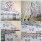 100%COTTON Cot Bed Duvet Cover Set Girls  Grey White Coral piping Bumper