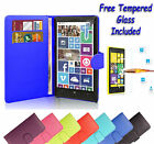 Wallet Flip Book Leather Cover Case Holder For Nokia Lumia 635 + Tempered Glass