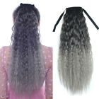 """24"""" Long Corn Curly Multicolor Ombre Ponytail Ribbon Hair Extensions Black Gray"""