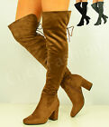 New Womens Ladies Over The Knee Boots Back Lace Block Heel Shoes Size Uk 3-8