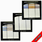 MENS WHITE WITH COLOUR HANKIES 100% COTTON HANDKERCHIEFS IN PRESENTATION BOX