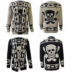 New Womens Ladies Halloween Knitted Skull Cardigan FB
