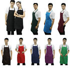 Solid Men Apron With Front Pocket for Chef Butchers Kitchen Cooking Craft Baking