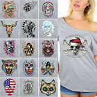 NEW SUGAR SKULLS Dia De Los Muertos Off Shoulder Top T-shirt Day Of Dead GRAY