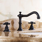 Traditional Widespread Bathroom Sink Faucet in Antique Black or Brass Deck Mount