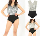 New Womens Ladies Shiny Foil Wrapover Bodysuit Leotard 8-14