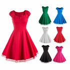 New Women Fashion Multicolor Plain/Polka Dot Cap Sleeve Summer Swing Retro Dress