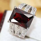 Women fashion jewelry  925 silver Ruby wedding ring size 6-10