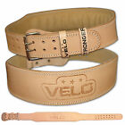 "VELO Weight Lifting 4"" Leather Belt Gym Back Support Strap Power Training"