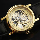 Brand New Winner Vintage Mechanical Watch Men Skeleton Leather Wrist Band T92