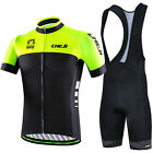 CHEJI Men's Cycling Kit Jersey & ( Bib) Shorts Bike Wear Set Fluorescent Green