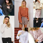 Women Vogue V-Neck Long Sleeve T Shirt Knit Tops Pullover Lace Up Cross Sweater