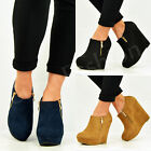 NEW WOMENS ANKLE BOOTS LADIES WEDGE PLATFORMS SIDE ZIP BOOTIES SHOES SIZE UK 3-8