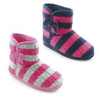 Girls Trendy Warm & Cosy Stripey Cable Knit Slipper Boots 2 Colours & 4 UK Sizes