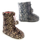 Girls Grey Or Brown Animal Print Cosy Plush Faux Fur Slipper Boots In 4 UK Sizes