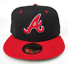 Atlanta Braves Black On Red All Sizes Fitted Cap Hat by New Era