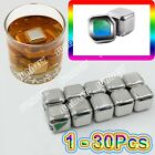 Stainless Steel Ice Cube Cubes Glacier Rocks Whisky Whiskey Stones Bulk Set